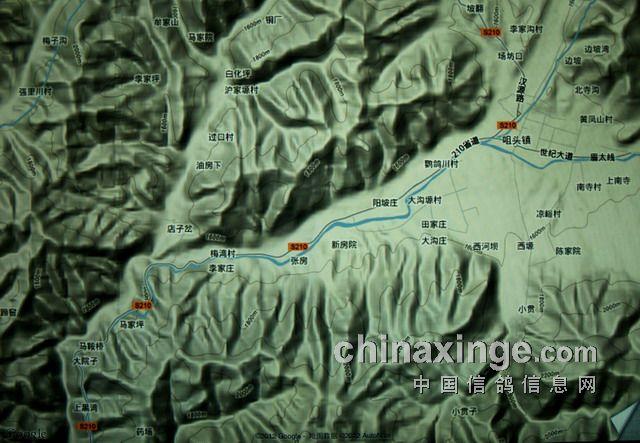 太白县城地形地貌图,赛鸽归巢线路向左沿公路进入山区